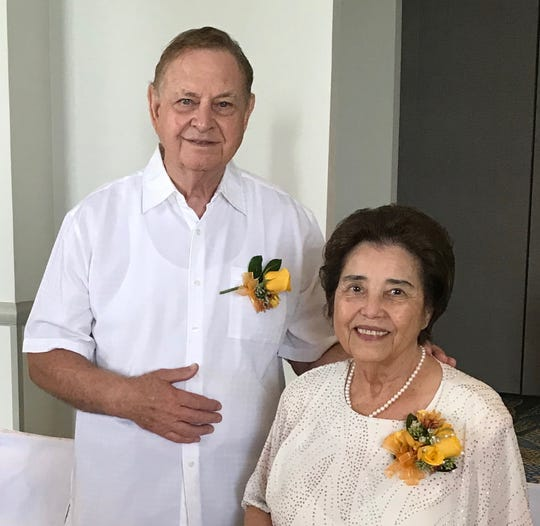 Former Guam Senators, Larry F. and Carmen Artero Kasperbauer affirmed their wedding vows on their 60th anniversary during Thanksgiving mass offered by Fr. Dan Bien at the Santa Barbara Catholic Church in Dededo on November 22.