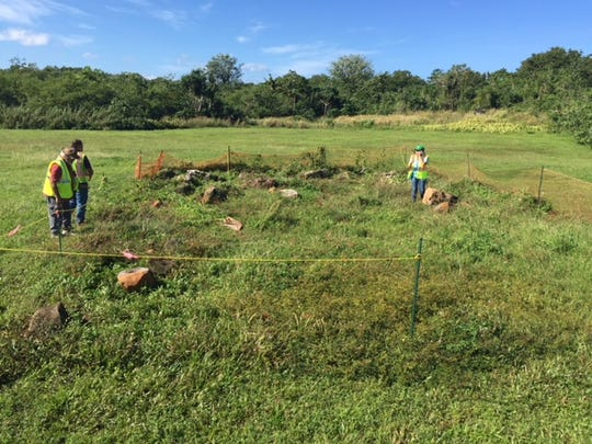 Guam State Historic Preservation Officer and staff inspected the area where lusong and latte from ancient Chamoru village Magua' were relocated, on Nov. 7, 2018.