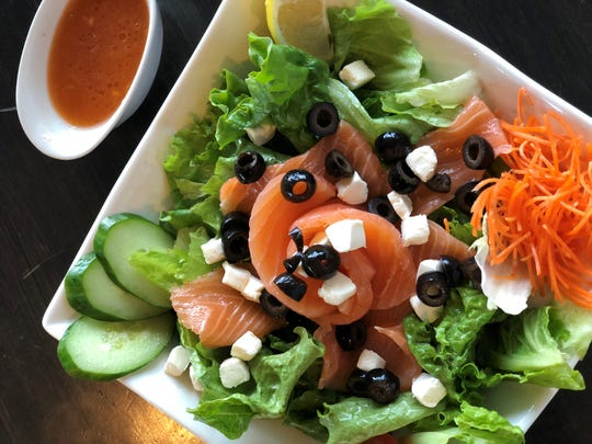 The Salmon Cheese Salad at Ebisu is packed with amazing freshness and flavor.