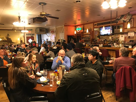 The day before John's Famous Stew owner Tommy Caito's funeral Nov. 28, 2018, customers fill the dining room at lunchtime at the Indianapolis restaurant on Kentucky Avenue, near downtown.