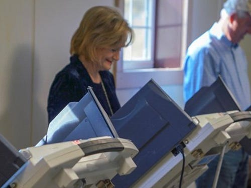 Sen. Cindy Hyde-Smith (R) is seen voting Tuesday in Mississippi.