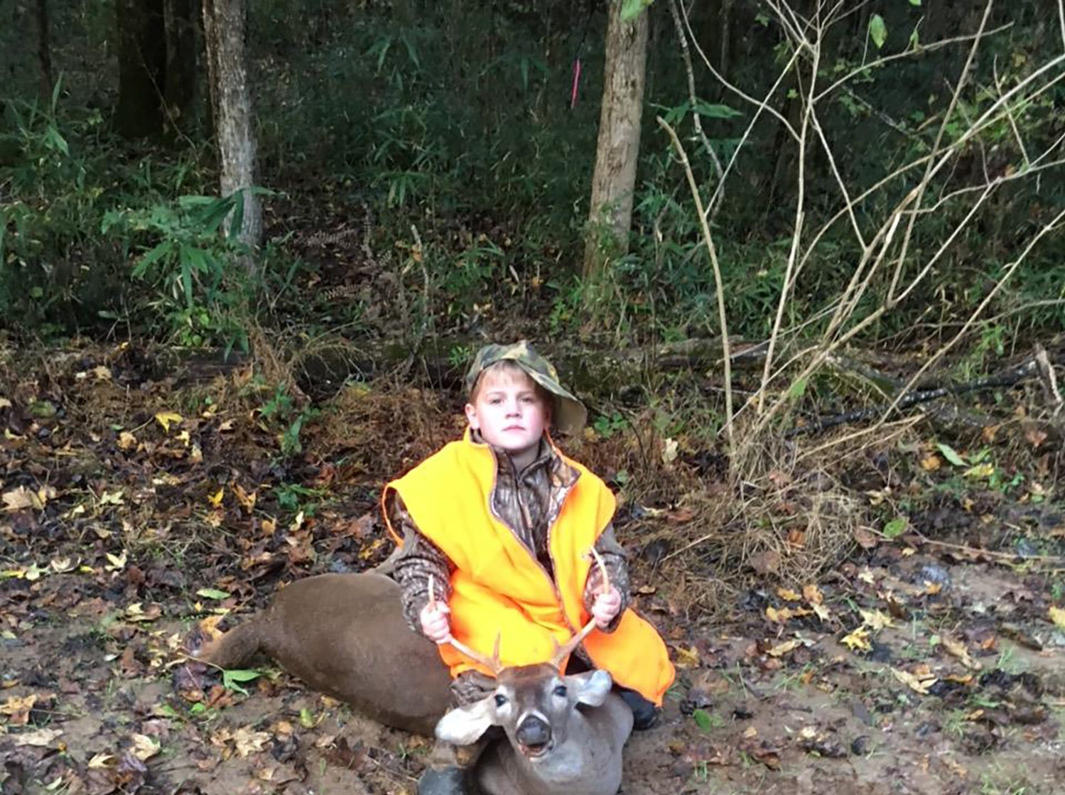Brantley Smith, 7, of Brookhaven, harvested a 6-point while hunting in Jefferson County. Smith shot the deer, which was his first, with a .44 Magnum.
