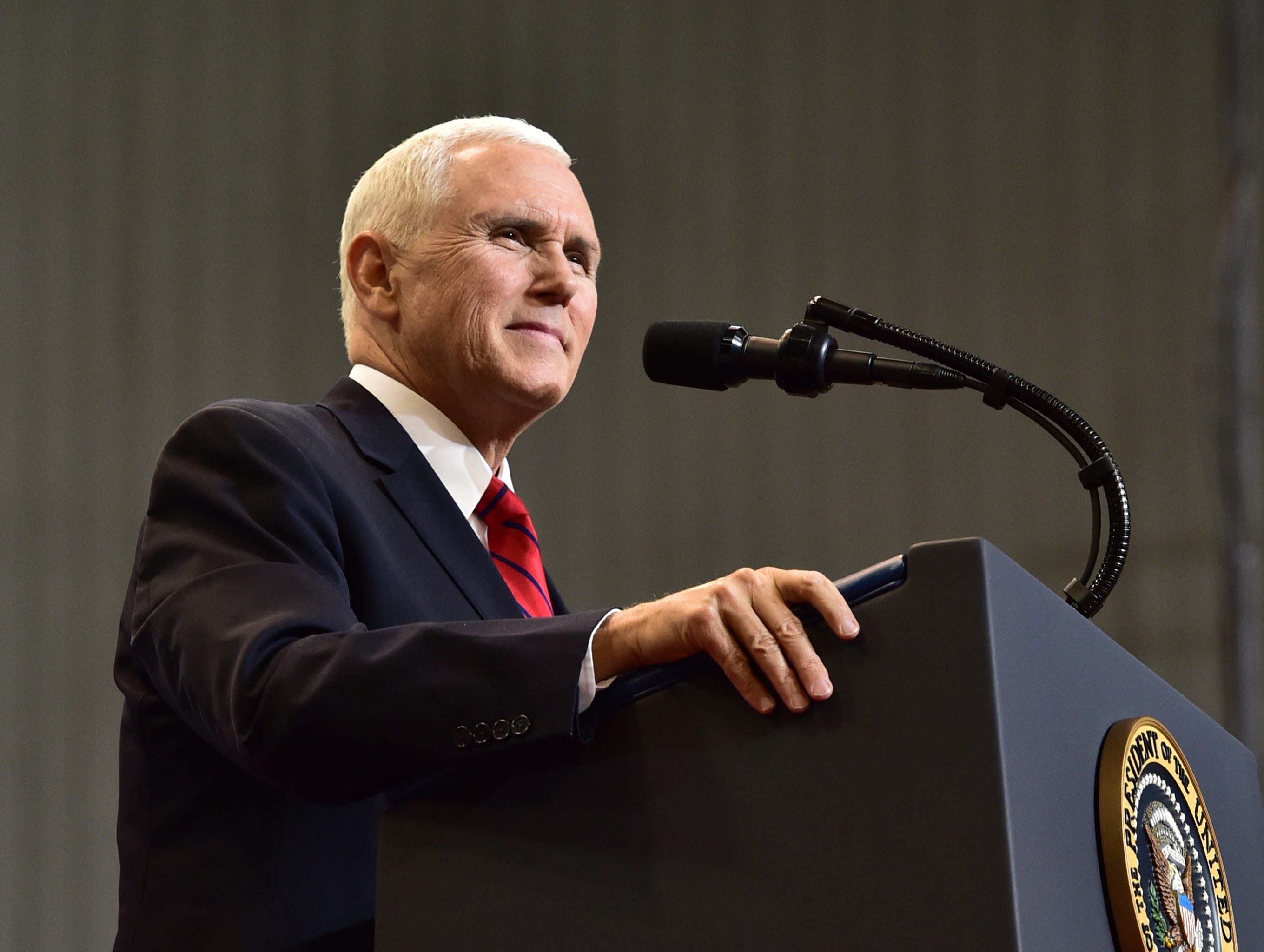 U.S. Vice President Mike Pence speaks to attendees of a rally in support of incumbent U.S. Sen. Cindy Hyde-Smith in Biloxi at the Mississippi Coast Coliseum. Monday, Nov. 26, 2018.