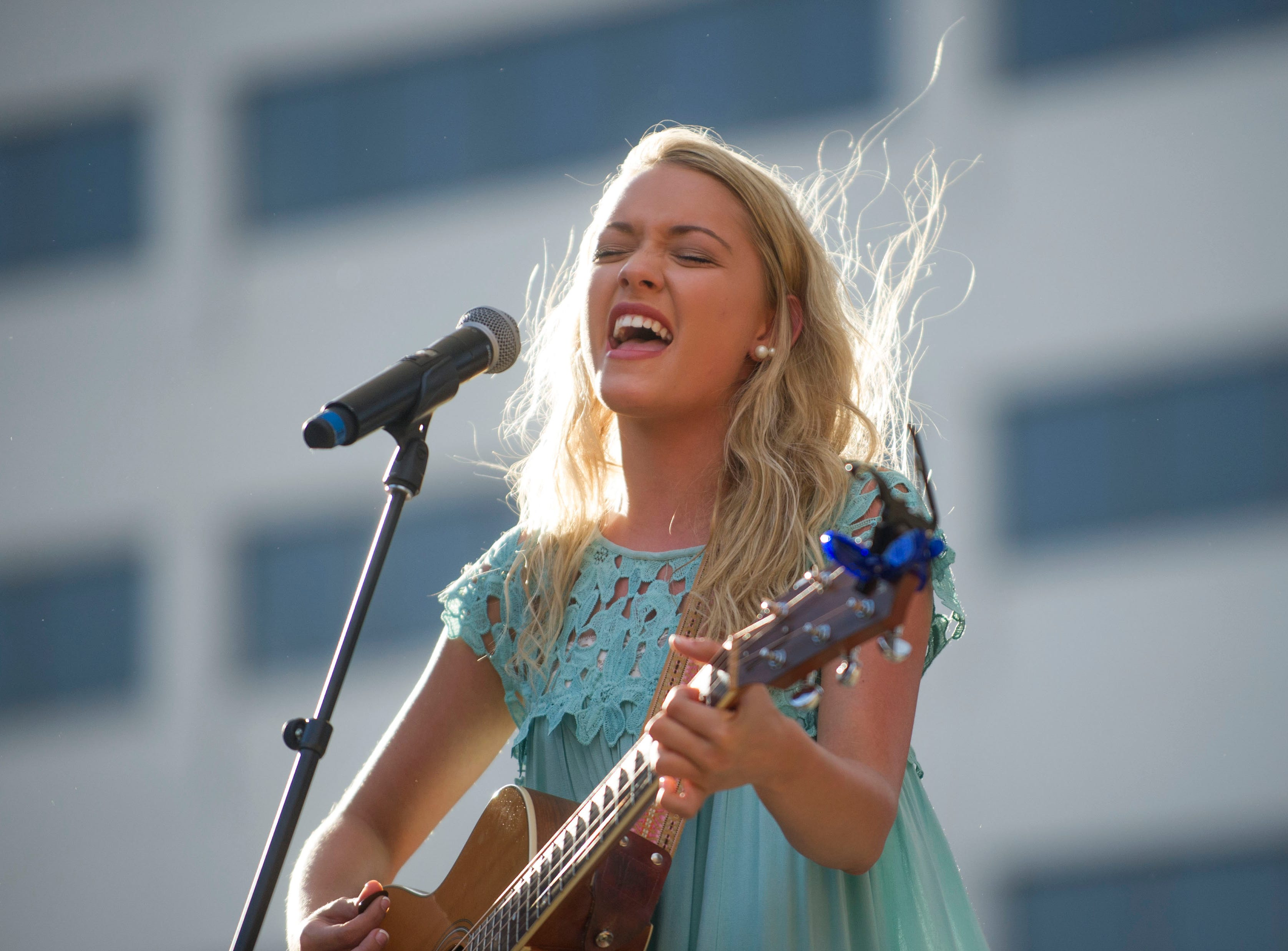 Emily Ann Roberts, last year's CTE Goes Live winner, opens with a performance before the 2016 show in Market Square on Friday, May 6, 2016.