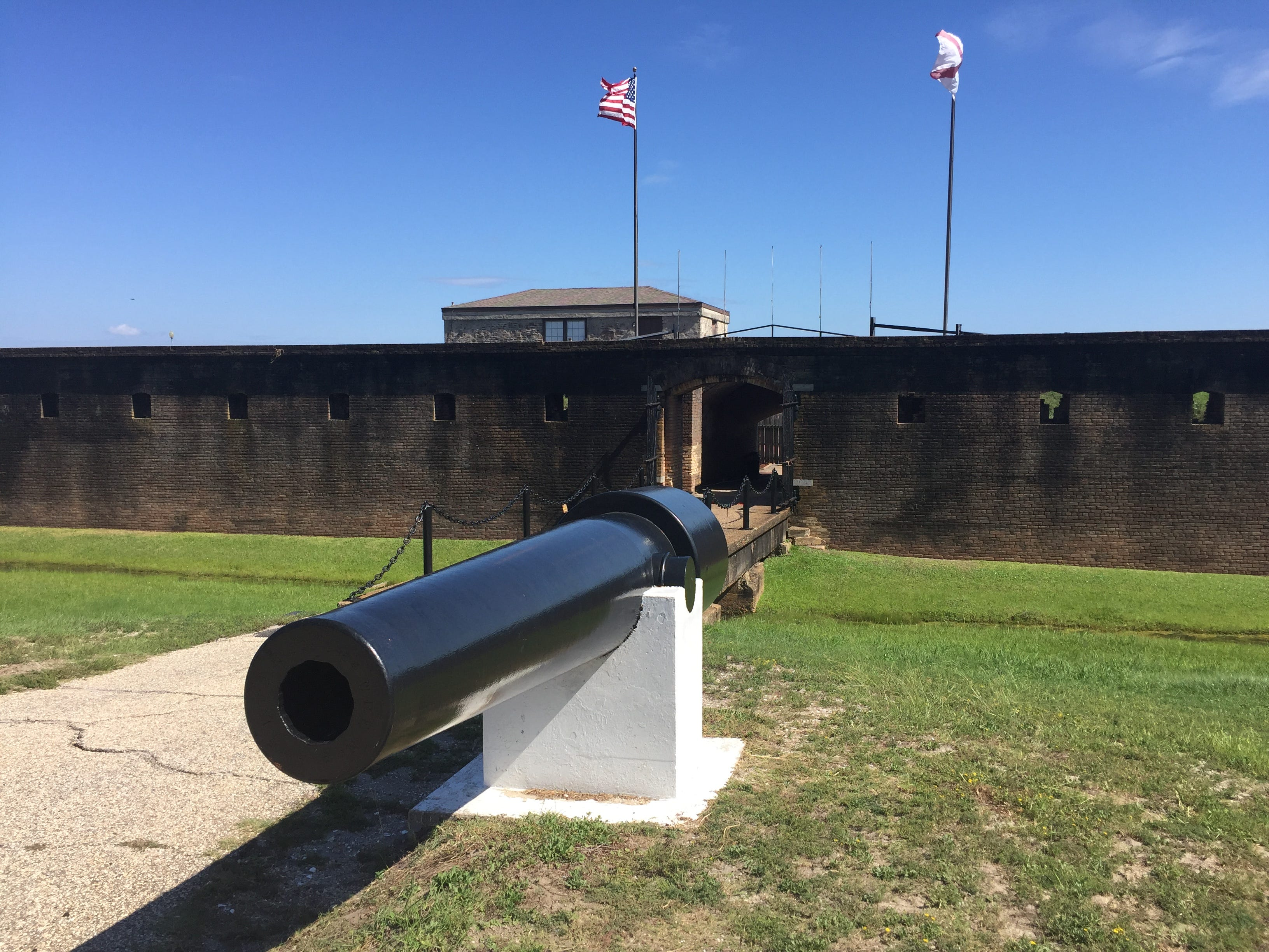 A cannon greets visitors at Fort Gaines Historic Site on Dauphin Island, Ala. A blacksmith shop is among the exhibits available to visitors.