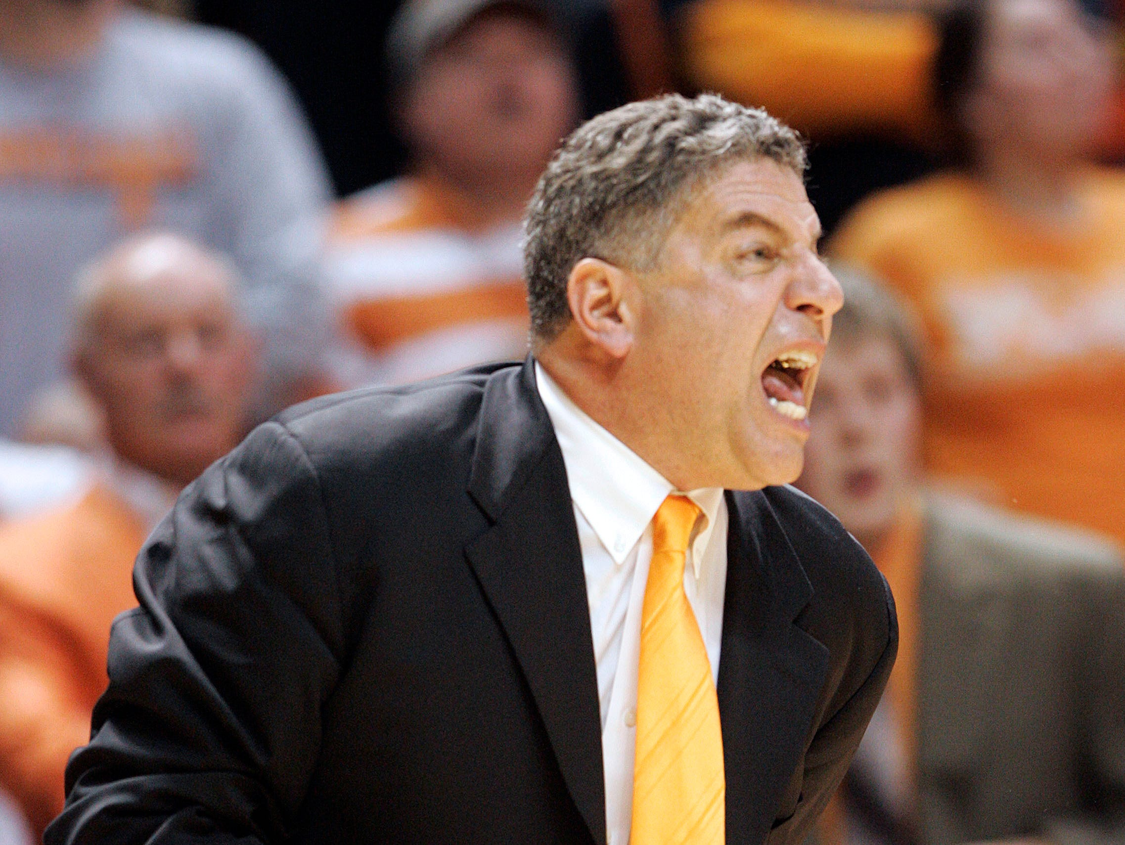 Tennessee head coach Bruce Pearl yells to his team during the second half of an NCAA college basketball game against Kansas, Sunday, Jan. 10, 2010, in Knoxville, Tenn. Tennessee won 76-68.