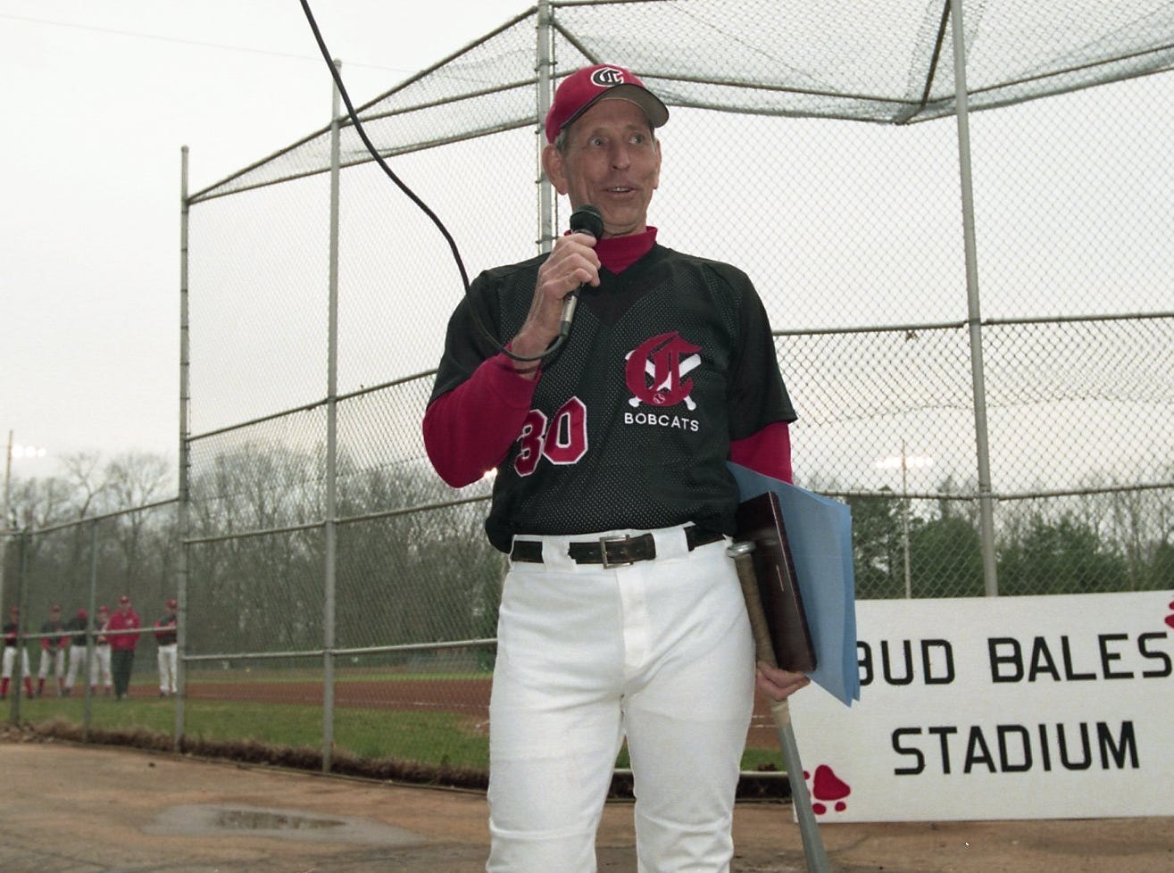 Central High baseball coach Bud Bales says a few words at a ceremony that named a stadium at the Fountain City Ball Park for him. March, 1997.