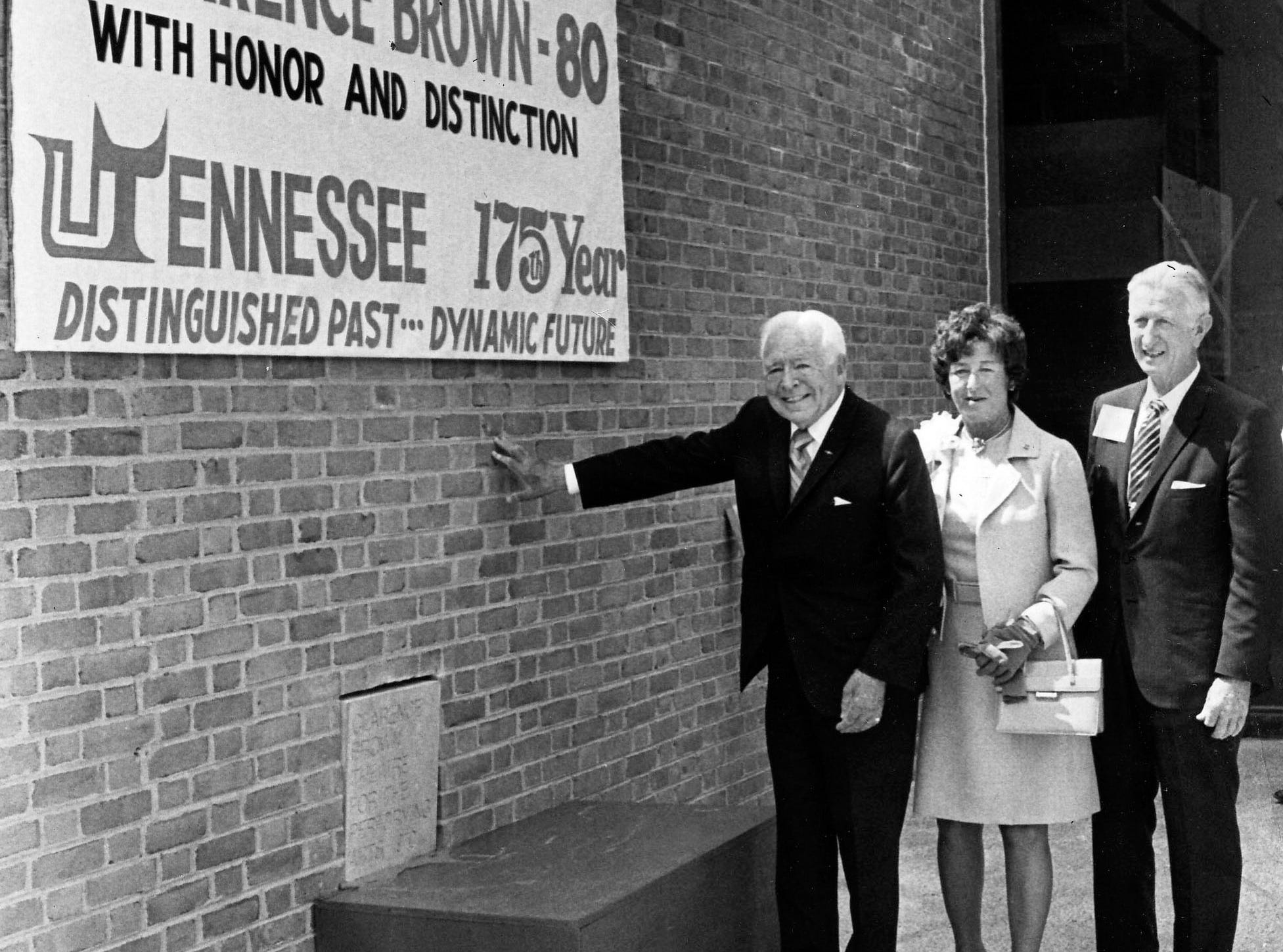 "Film director Clarence Brown, left, his wife, Marian, and University of Tennessee retiring President Andy Holt pose for a News-Sentinel photographer during a ceremonial setting of the cornerstone at the new $1.15 million Clarence Brown Theatre for the Performing Arts on May 9, 1970. ""It's the greatest in the world,"" said Brown of the theater to which he donated $50,000. ""This theater starts where all the others leave off - its uniqueness in design - it's just ahead of its time."" (KNS Archive)"