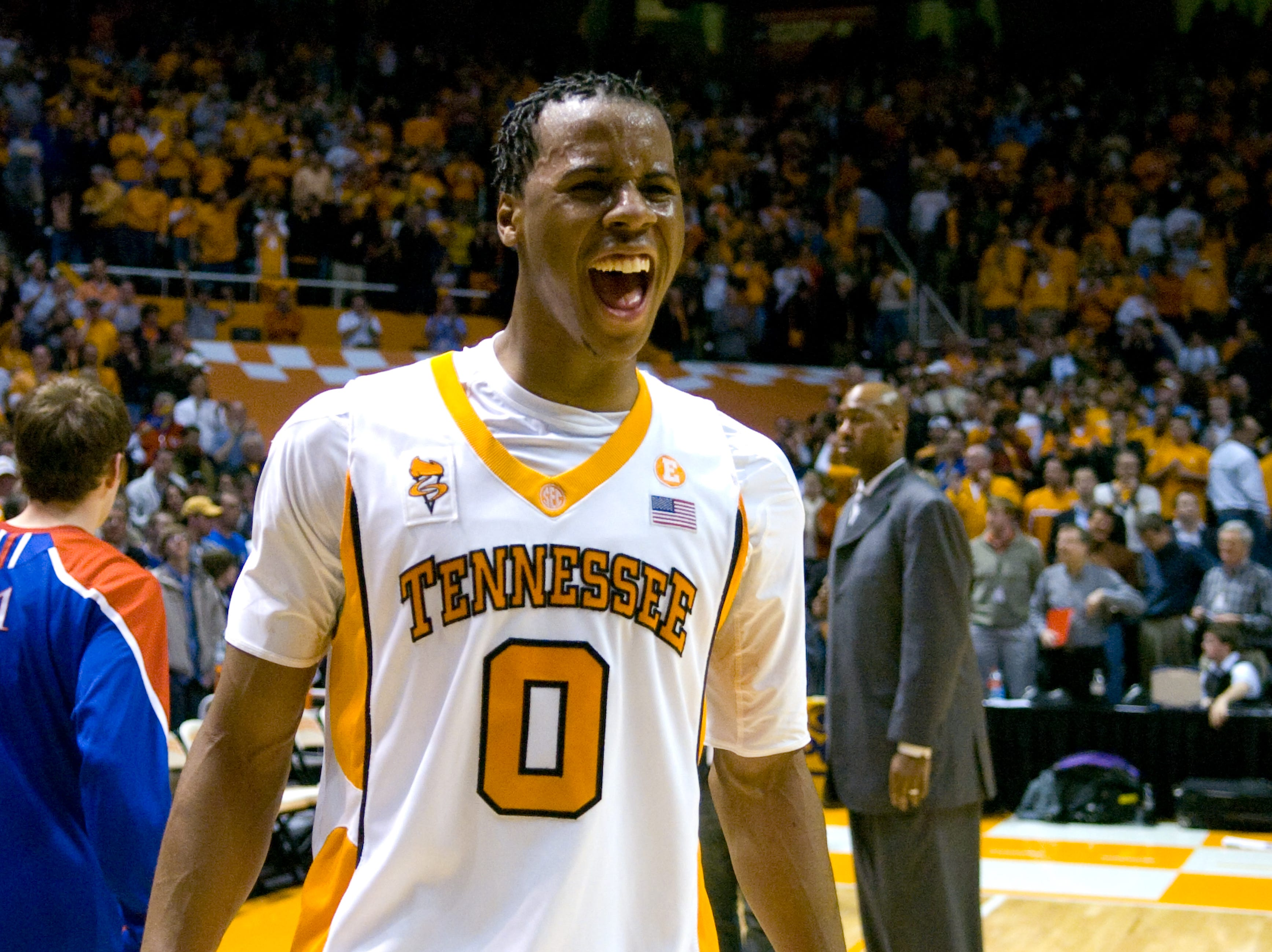 Renaldo Woolridge yells out in celebration after defeating Kansas. Woolridge scored 14 points and grabbed 8 rebounds. Tennessee upsets number one ranked  Kansas 76-68 at Thompson-Boling Arena  Sunday, Jan 10, 2010.