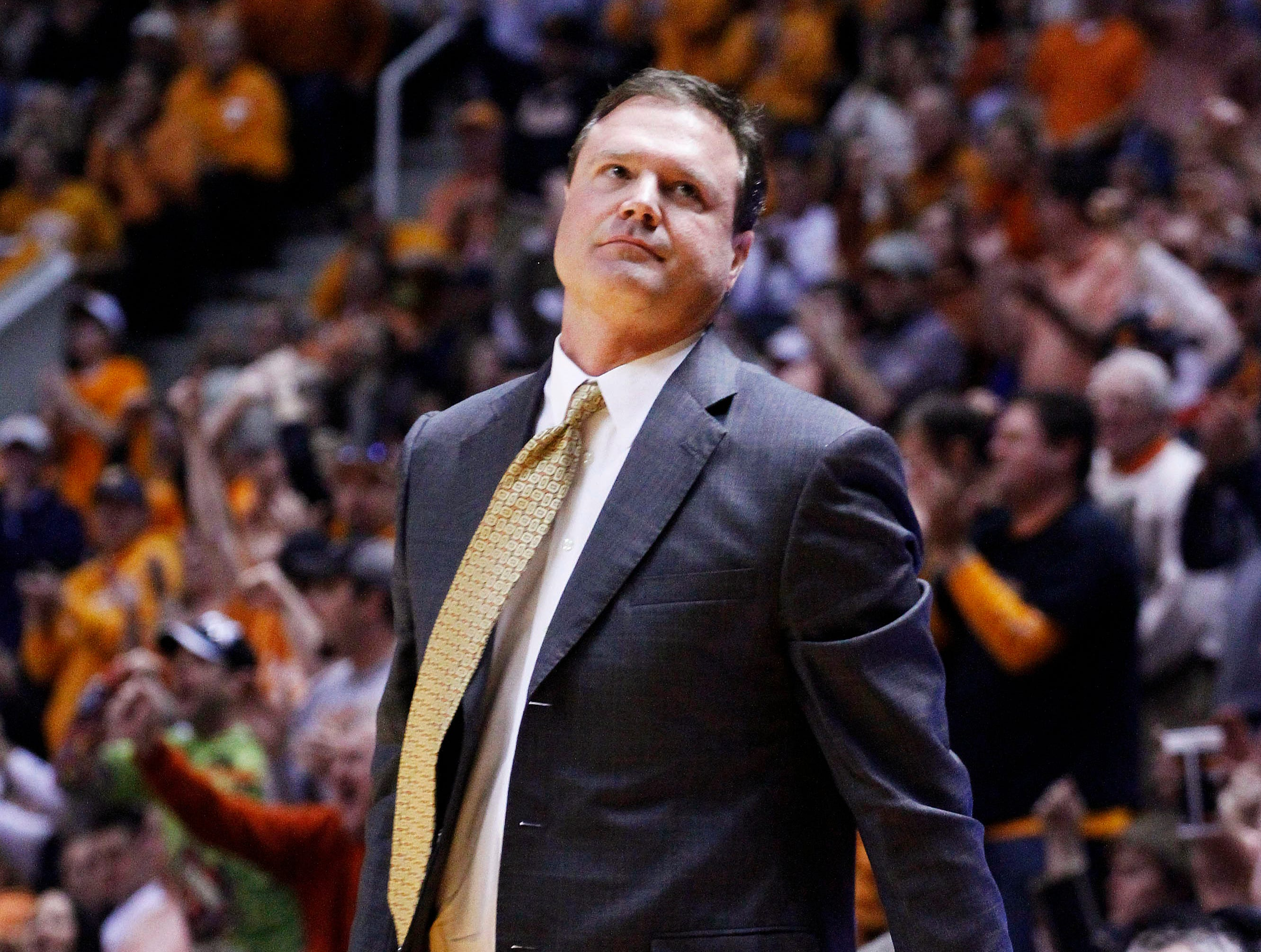 Kansas head coach Bill Self looks on as Tennessee scores during the first half of an NCAA college basketball game Sunday, Jan. 10, 2010, in Knoxville, Tenn. Tennessee won 76-68.