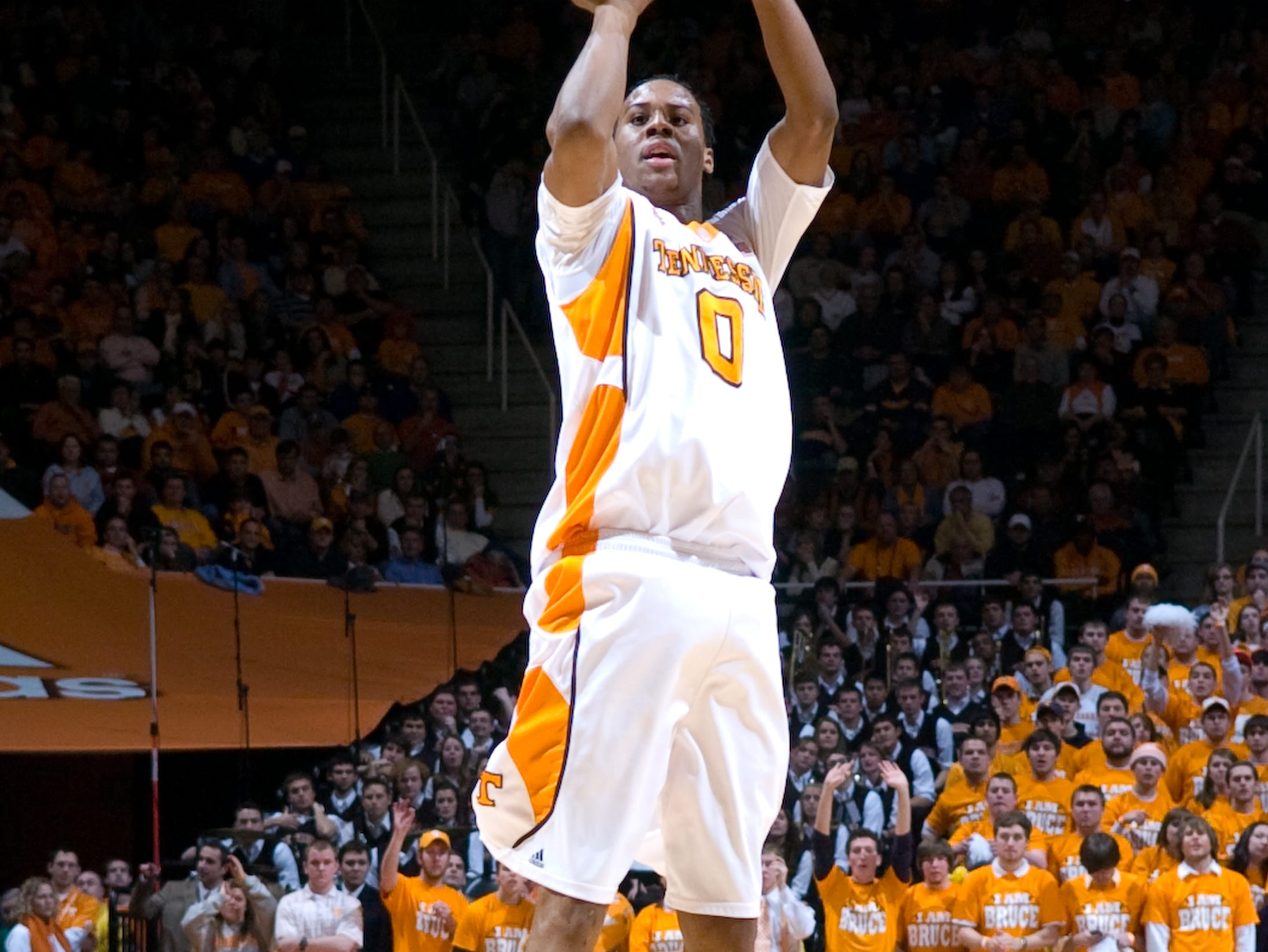 Renaldo Woolridge scores his first 3-point shot against Kansas. Tennessee upsets number one ranked  Kansas 76-68 at Thompson-Boling Arena  Sunday, Jan 10, 2010.