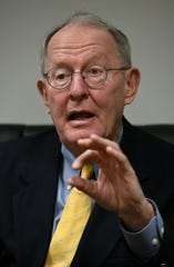 Senator Lamar Alexander during an interview at the Knoxville News Sentinel Friday, Feb. 23, 2018.
