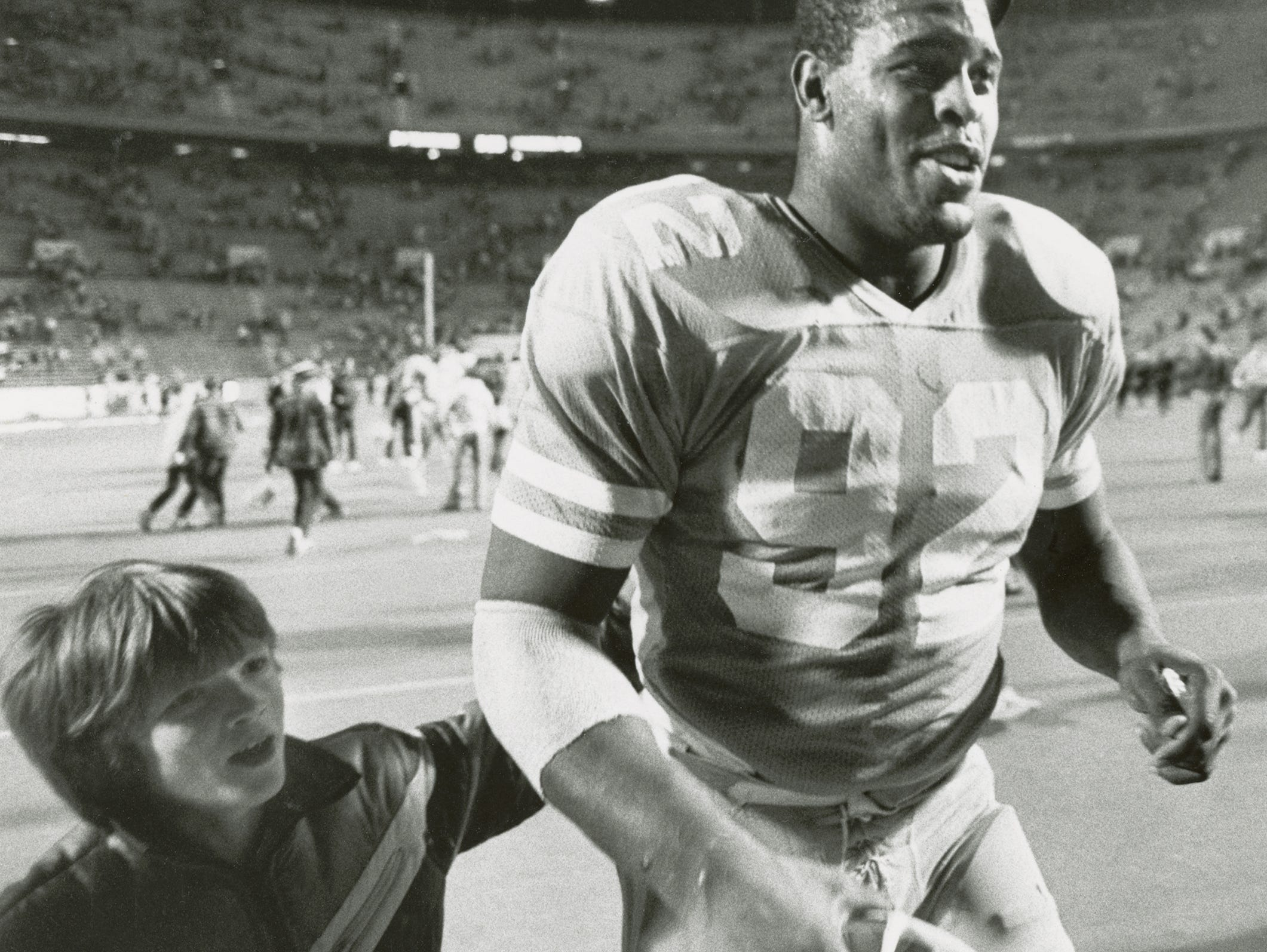 Reggie White, University of Tennessee defensive tackle 1980-83. All-American, SEC player of the year, and team captain in his senior season. Member College Football Hall of Fame and NFL Hall of Fame. Died Dec. 26, 2004, age 43.  Photo from Knoxville News Sentinel archive, undated.