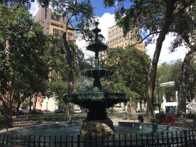 The fountain at Bienville Park in downtown Mobile, Ala., was built in 1890. The park is located in the Lower Dauphin Historic District, an area listed on the National Register of Historic Places.