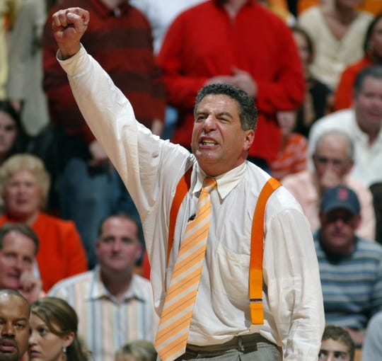Tennessee's coach Bruce Pearl celebrates as the clock winds down Saturday at Thompson-Boling Arena. Tennessee upset No. 2 Florida 80-76. 01/21/06
