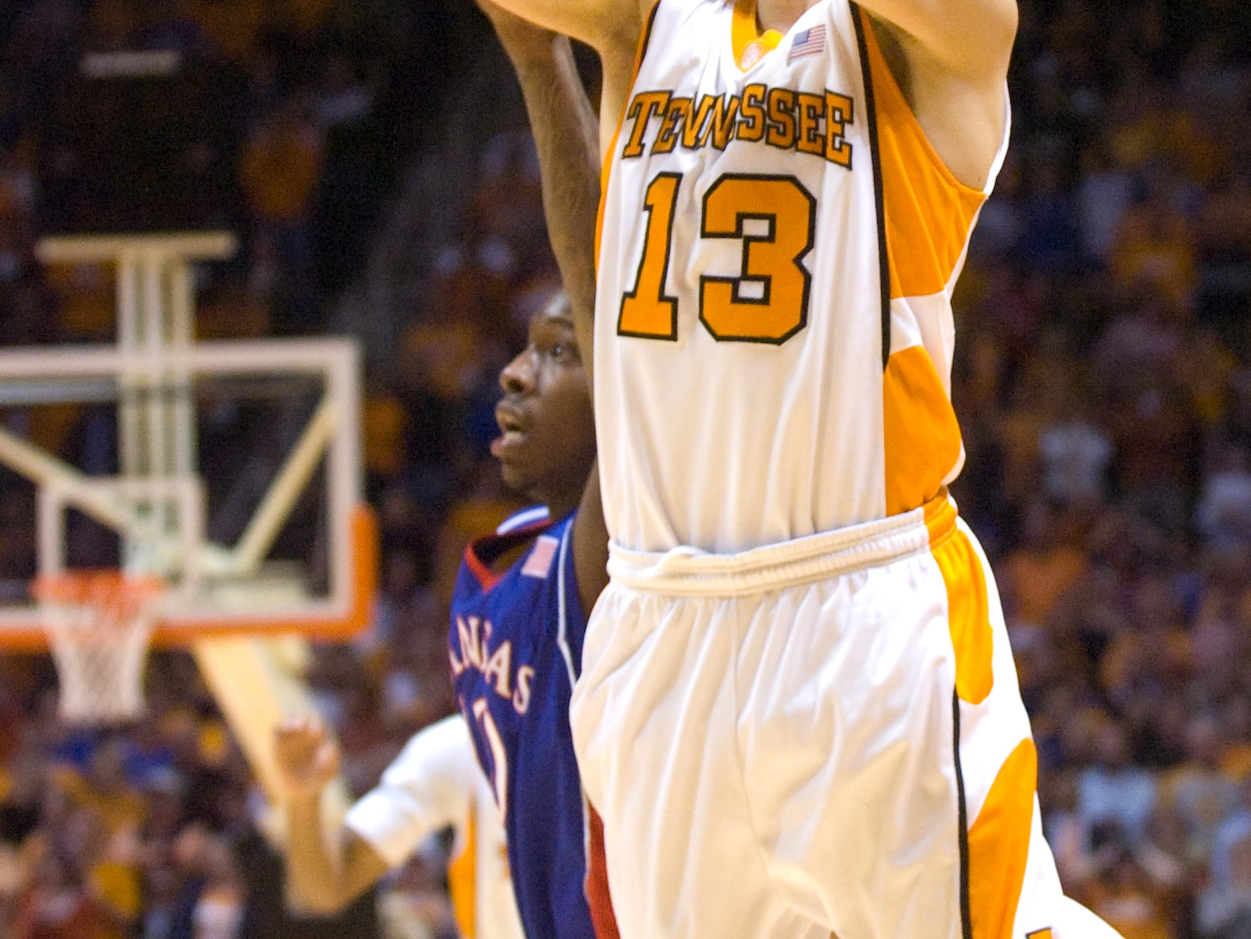 Skylar McBee makes a clutch 3-point shot in the final seconds of the game against Kansas. Tennessee upsets number one ranked  Kansas 76-68 at Thompson-Boling Arena  Sunday, Jan 10, 2010.