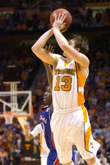 Skylar McBee makes a clutch 3-point shot in the final seconds of the game against Kansas. Tennessee upset No. 1-ranked Kansas 76-68 at Thompson-Boling Arena on Sunday, Jan 10, 2010.