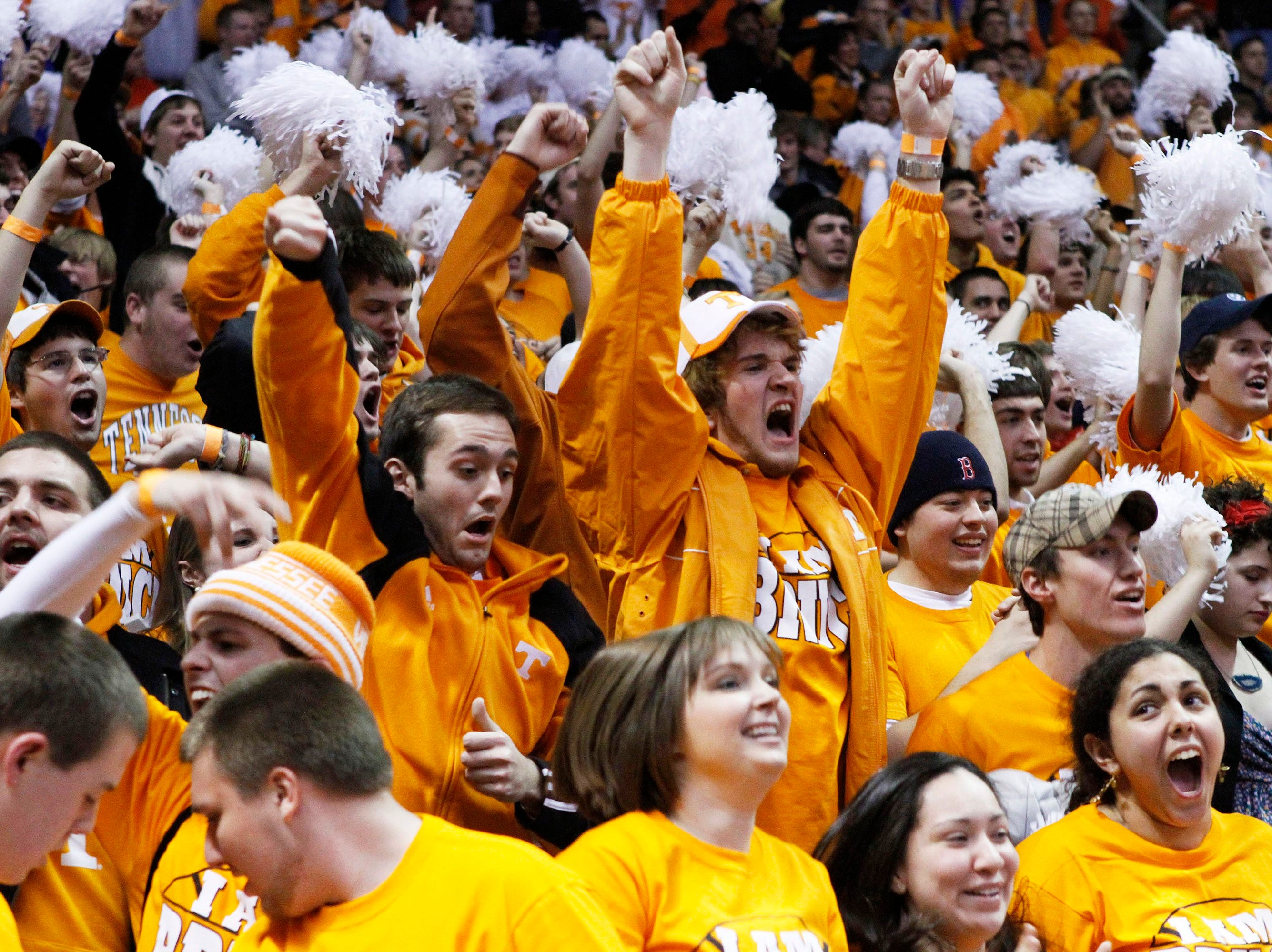 Tennessee students celebrate after Tennessee defeated Kansas 76-68 in an NCAA college basketball game Sunday, Jan. 10, 2010, in Knoxville, Tenn.