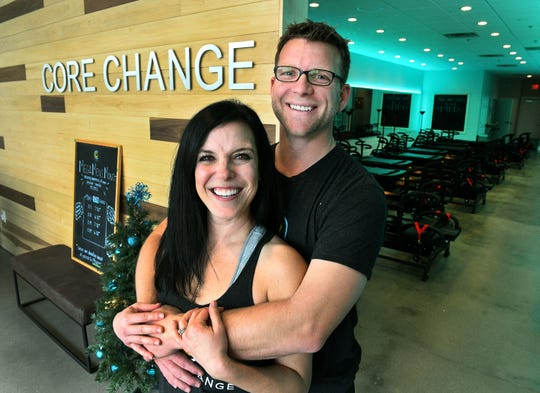 Lacey Barr and Patrick Robinette are co-owners of the new Core Change in Turkey Creek Tuesday, Nov. 27, 2018. Core Change, has brought the Lagree workout to the Knoxville market with the Megaformer machine. It's a low-impact, high intensity workout.
