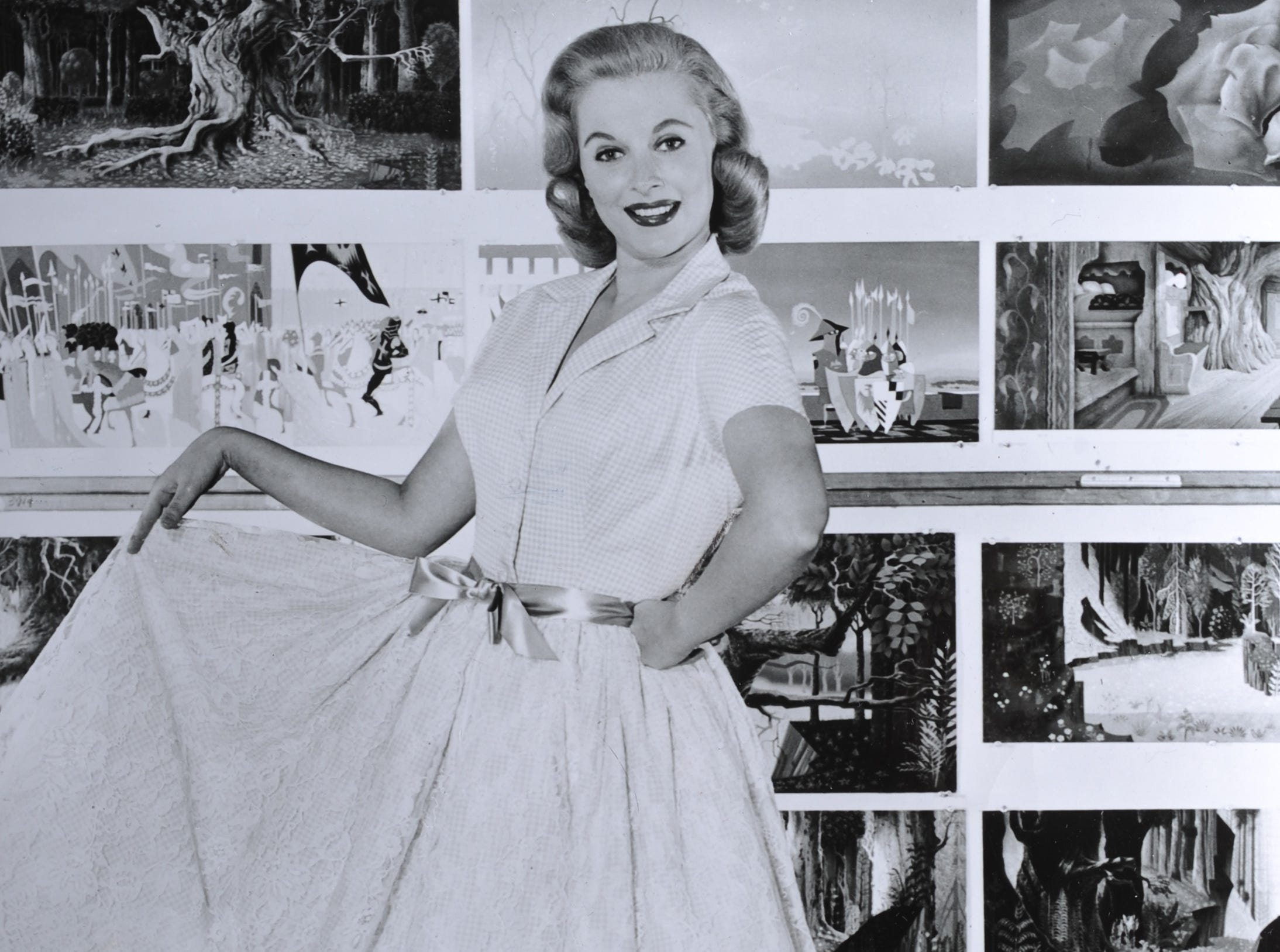 A publicity photograph shows Mary Costa promoting her role of Princess Aurora in the 1959 Walt Disney film 'Sleeping Beauty.'