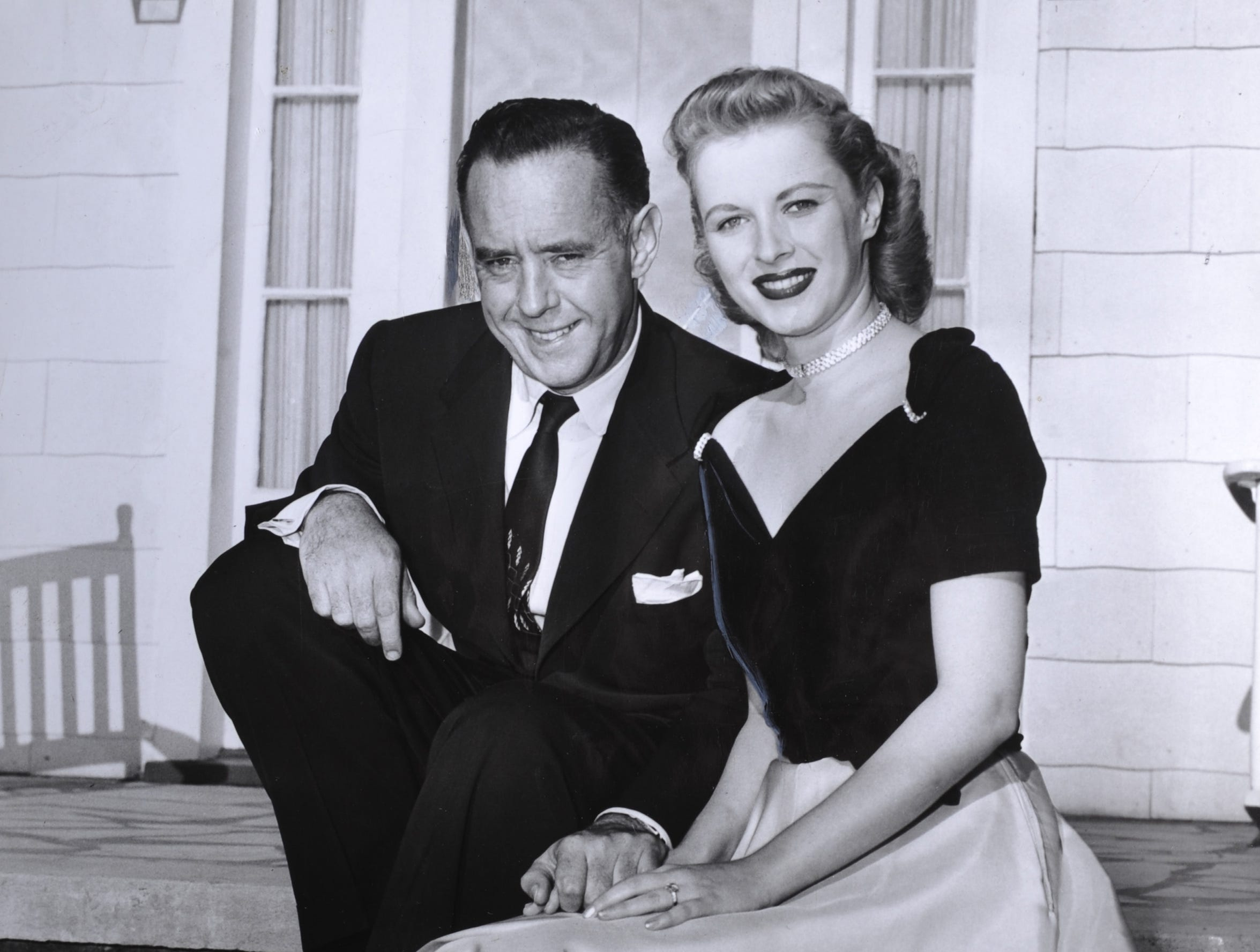 Mary Costa and her fiancee Frank Tashlin at the Rex Wallace home on Emory Road in October 1952. Tashlin is a film director.
