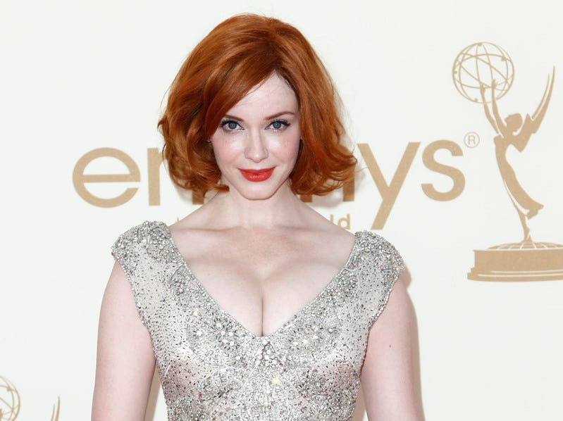Christina Hendricks arrives at the 63rd Primetime Emmy Awards on Sunday, Sept. 18, 2011 in Los Angeles.