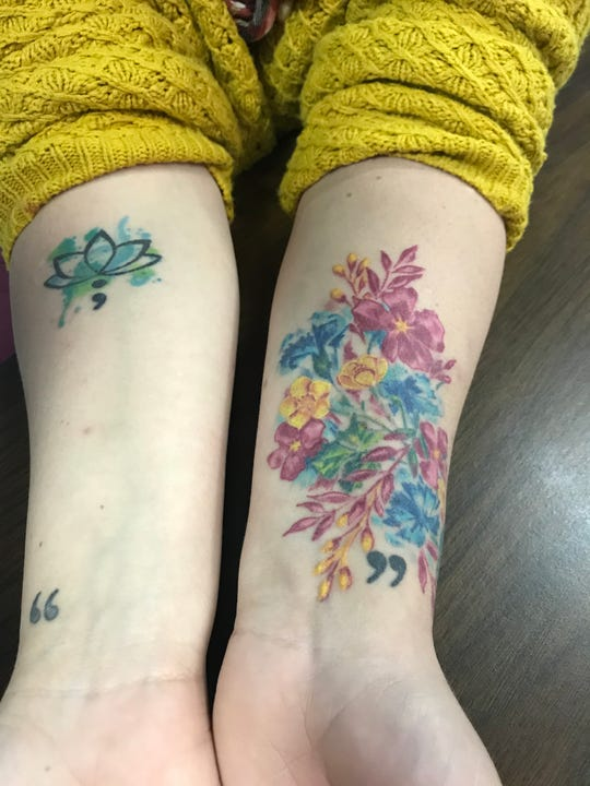 Erin Wigley's tattoos are individually meaningful to her, and they also cover scars.