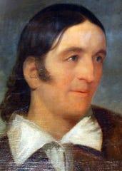 A restored portrait of Davy Crockett by John Gadsby Chapman.