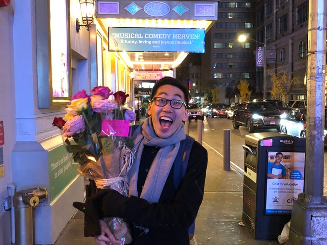 """Ted Arthur, a 2004 Harrison High School graduate, celebrates opening night of """"The Prom,"""" the musician's first full-time Broadway show. The show opened Nov. 15 in New York City."""