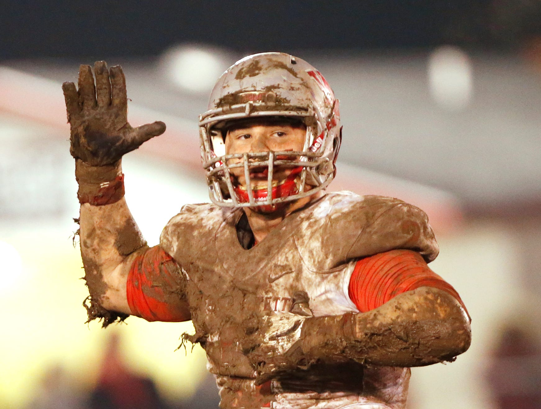 Joey Kidwell reacts after sacking Ft. Wayne Bishop Luers quarterback Norm Knapke Friday, November 16, 2018, in Ft. Wayne. West Lafayette scored 27 unanswered points in the second half to come from behind and defeat Bishop Luers 27-14.