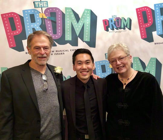 """Ted Arthur, center, a 2004 Harrison High School graduate, celebrates opening night of """"The Prom,"""" the musician's first full-time Broadway show, with his parents, Bill and Eileen Arthur of West Lafayette. The show opened Nov. 15 in New York City."""
