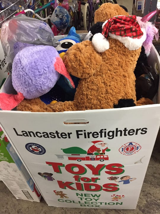Those wishing to donate toys for the annual Lancaster Fire Department's toy drive can drop them in boxes like this at the River Valley Mall and at Ollie's Bargain Outlet at 1227 N. Memorial Drive.
