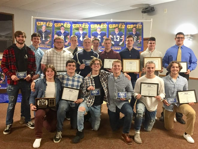 The Lancaster football team was honored at its annual banquet on Monday night. Receiving special awards were, front row from left, Jackson Rienschield, Payton Harris, Max Hamilton, Jake Richards, Mason Hamilton, Tyler Monk, second row, A.J. Cook, Casey Finck, Dalton Golden, Curtis Young, Vince Albertini, Phillip Slater, Alex Widener, Reese Burwell, Ethan Poe and Quinton Burke.