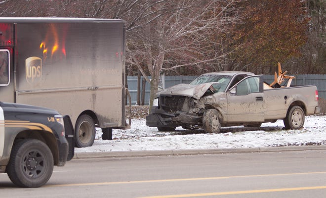 A crash involving a Ford F-150 and a UPS delivery truck sent patients to the hospital via Livingston County EMS Tuesday, Nov. 27, 2018 on the westbound side of Grand River near Grand River Annex east of Kellogg in Genoa Township.