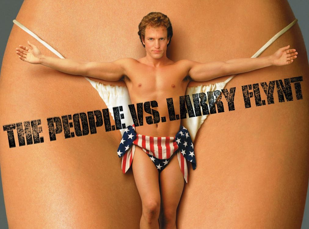 """The People vs. Larry Flynt"" (1996) - The iconic pornography icon who turned from smut peddler to First Amendment defender.  Woody Harrelson stars as the title character along side Courtney Love and Ed Norton.  Harrelson received an Oscar nomination as did director Milos Forman."
