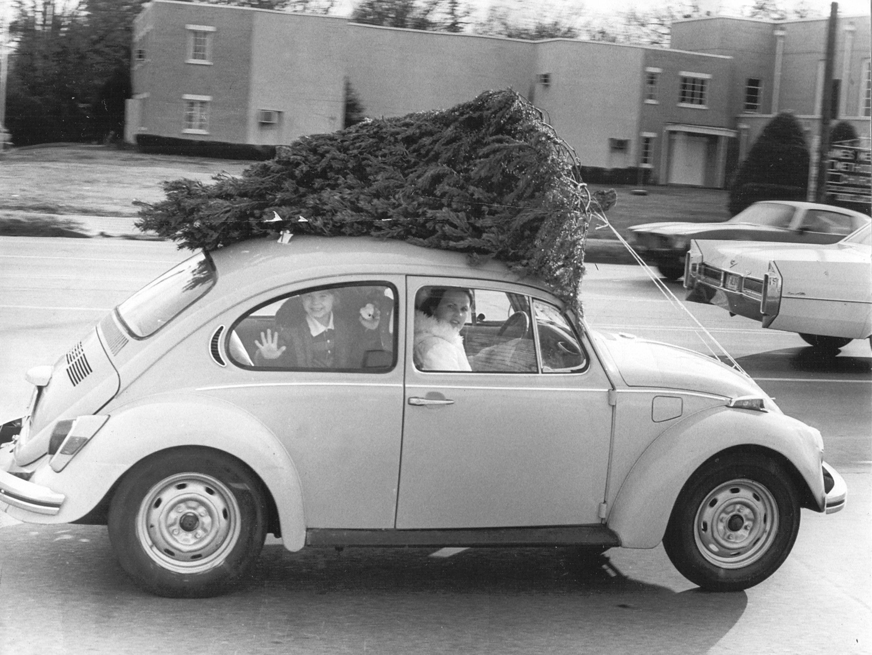 Mr. and Mrs. Jerry White of 4366 Yale Road roll west on Summer Avenue near Stratford on their way home with a back seat full of kids and a roof full of Christmas tree on 12 Dec 1977.