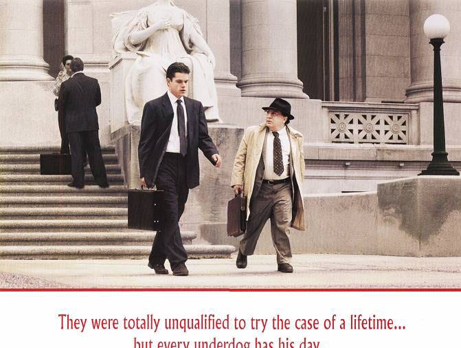 """The Rainmaker"" (1997) - Matt Damon and Danny DeVito star in this John Grisham story about a lawyer who battles an insurance company.  Claire Danes also stars in this Francis Ford Coppola film that received on Golden Globe nomination."