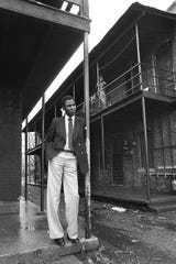 Dr. Willie W. Herenton stands on the steps of his childhood home  on the South side of Crump Blvd., west of South Third Street in this December 7, 1978 photograph. The building was torn down in later years. The photograph was made shortly after Dr. Herenton was named superintendent of the Memphis city school system.