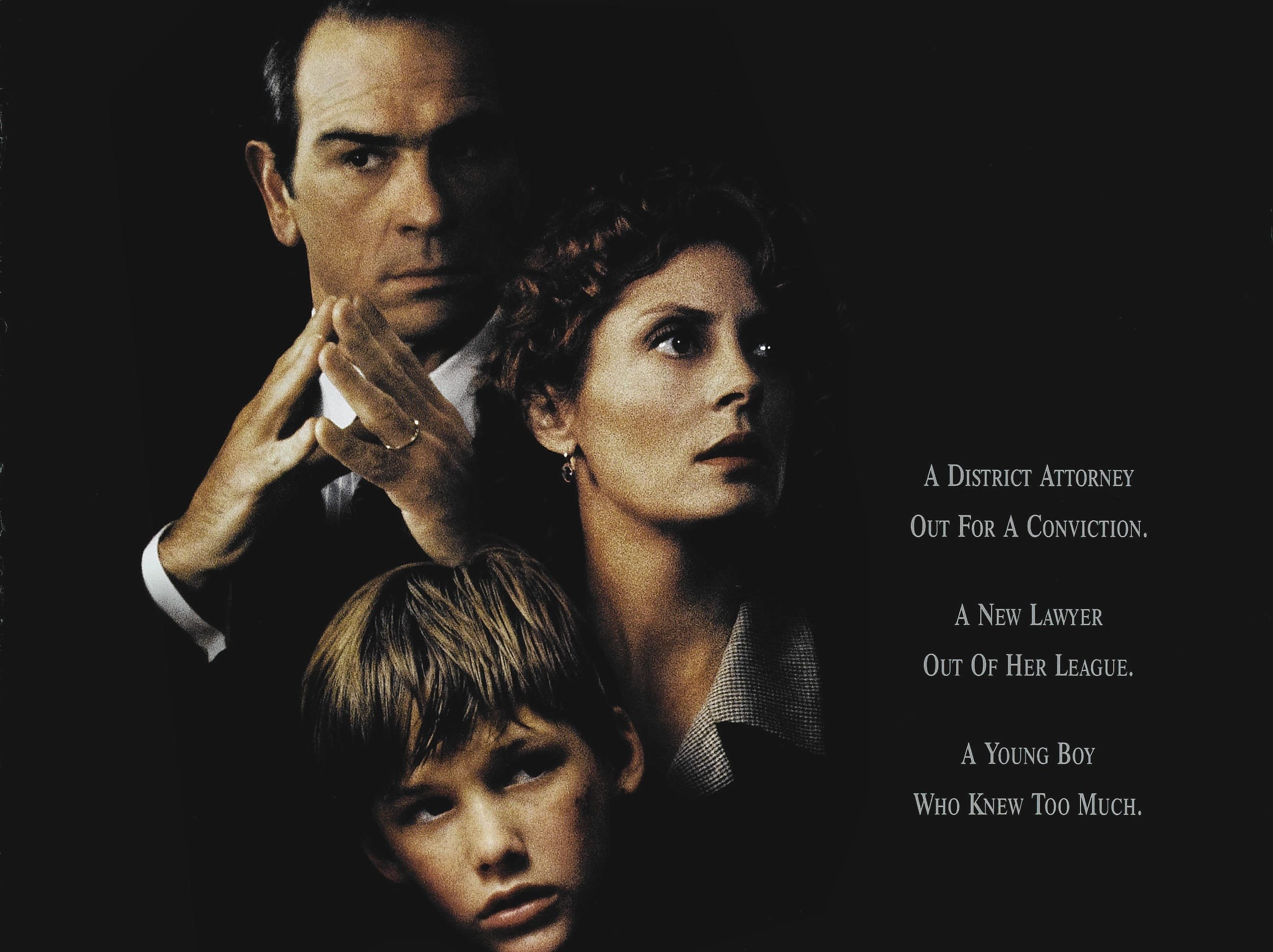 """The Client"" (1994) - A John Grisham story about a boy who witnesses the suicide of a mob lawyer.  The movie stars Tommy Lee Jones and Susan Sarandon who was nominated for an Oscar for her performance."