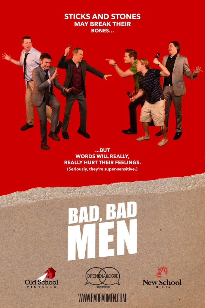 """Bad, Bad Men"" (2016) - From IMDB: ""After being taunted at a coffee shop, a timid young man enlists his two best friends to help him track his newfound bully down and put him in his place""  The movie features Allen C. Gardner, Drew Smith and Matt Mercer."