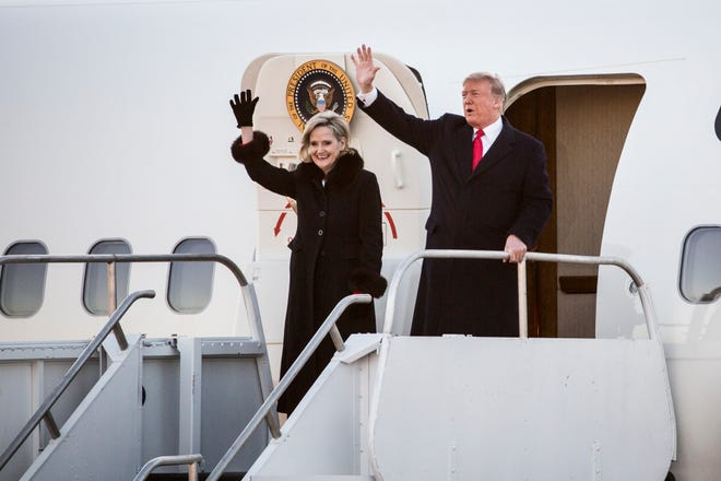 November 26 2018 - President Donald Trump and Sen. Cindy Hyde-Smith arrive for a rally at the Tupelo Regional Airport on Monday. Hyde-Smith faces Democratic challenger Mike Espy in a runoff for the Senate seat on Tuesday.