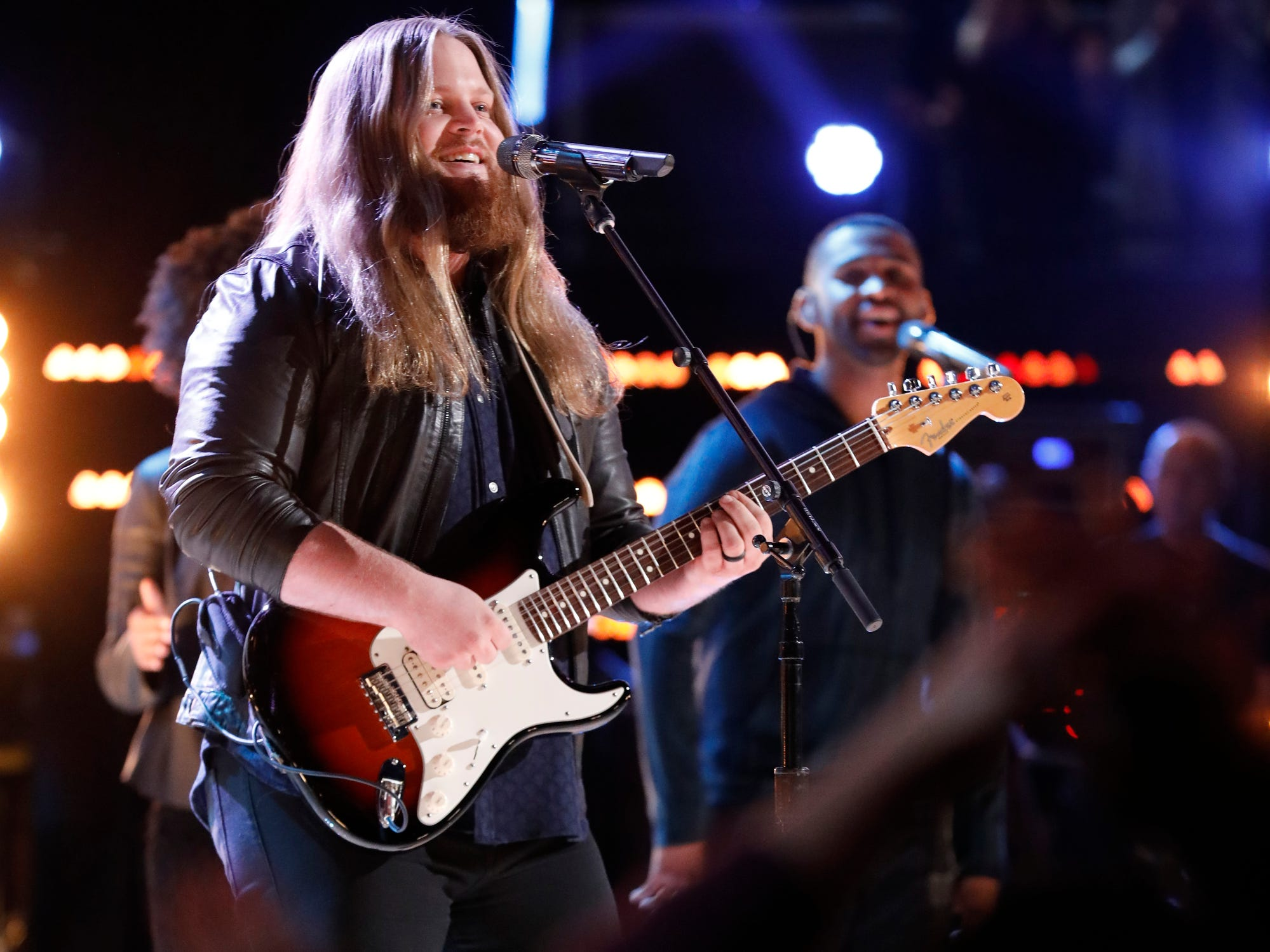 "Chris Kroeze sang the Doobie Brothers' ""Long Train Runnin'"" on ""The Voice"" Nov. 26, 2018, a song that was selected by fans through the show's app."