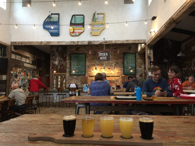 A beer flight at the Hacienda Beer Co. taproom in Baileys Harbor.