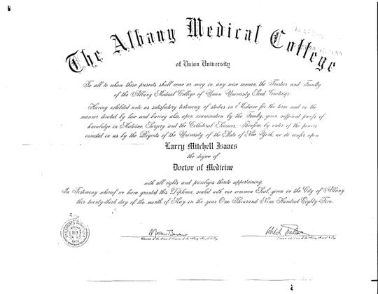 Larry Isaacs' Doctor of Medicine degree awarded by The Albany Medical College.