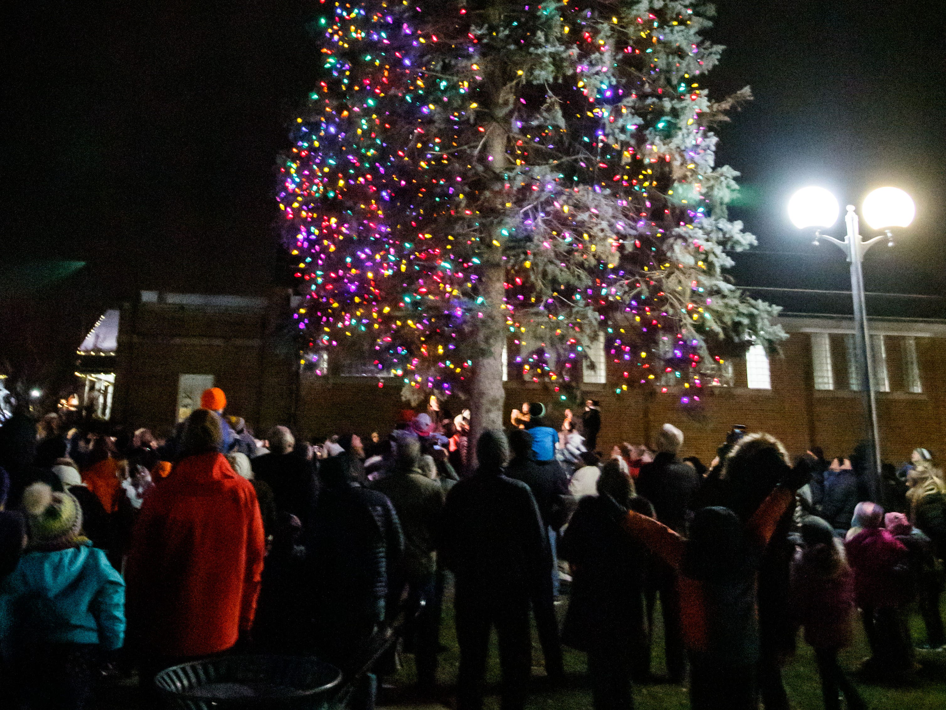 The crowd watches hundreds of colorful lights come to life during Cedarburg's annual tree lighting ceremony in front of City Hall on Monday, Nov. 26, 2018. The event, hosted by Cedarburg Chamber of Commerce, features make-and-take crafts, cookies, cider, music, caroling and a visit from Santa to light the tree.