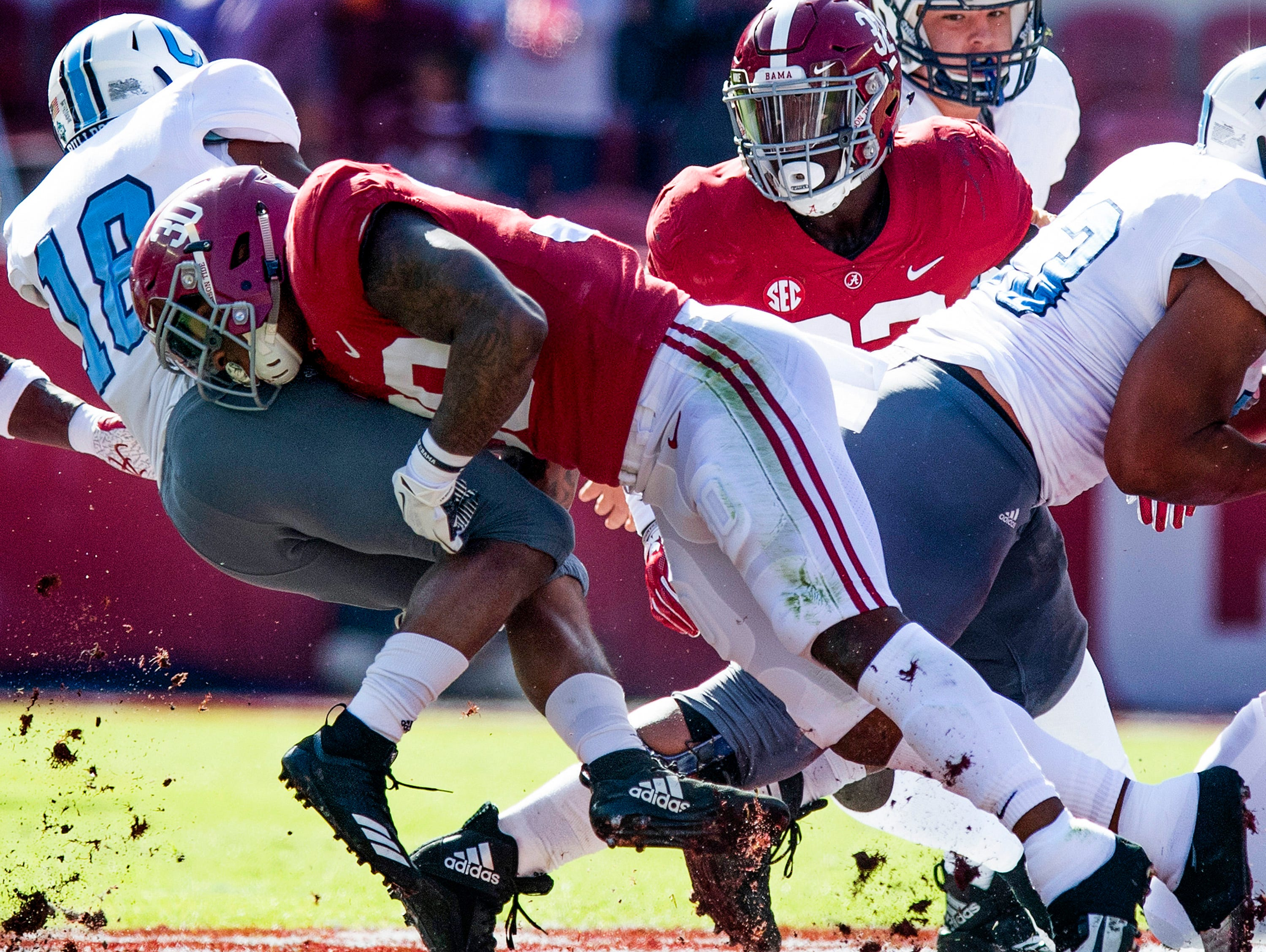 Alabama linebacker Mack Wilson (30) stops Citadel A-Back Dante Smith (18) In first half action at Bryant-Denny Stadium in Tuscaloosa, Ala., on Saturday November 17, 2018.