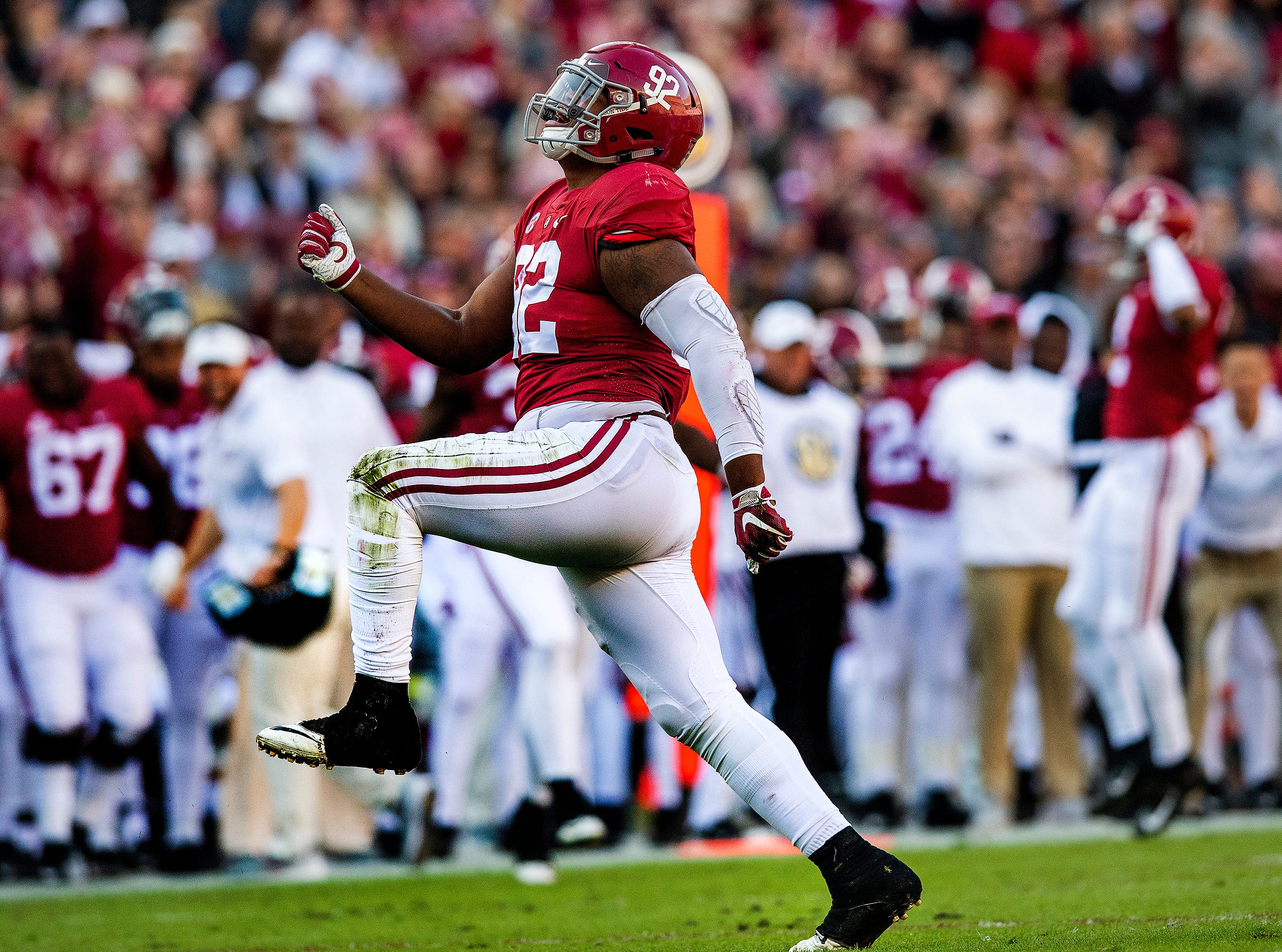 Alabama defensive lineman Quinnen Williams (92) celebrates a sack against Mississippi State University in first half action at Bryant Denny Stadium in Tuscaloosa, Ala., on Saturday November 9, 2018.