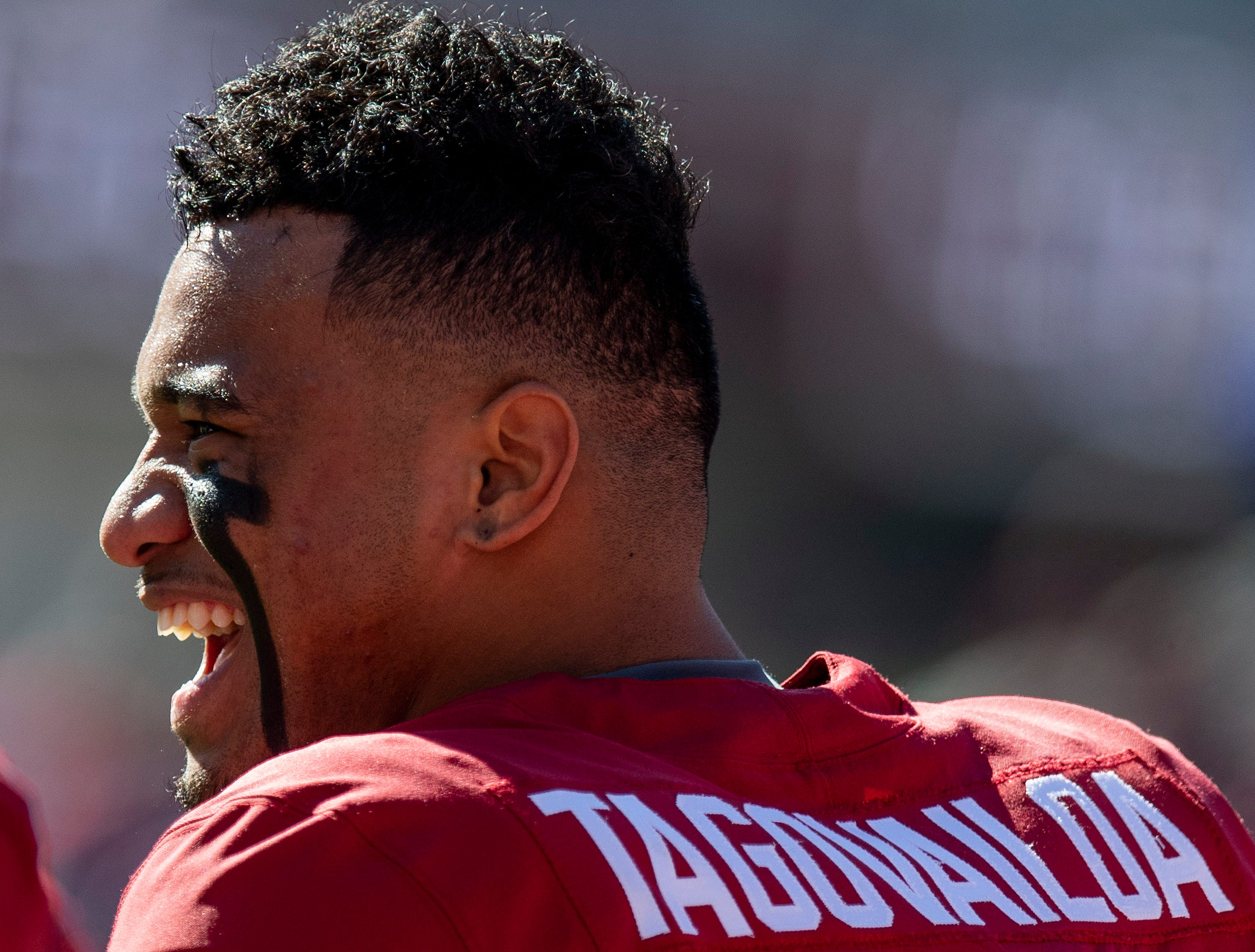 Alabama quarterback Tua Tagovailoa (13) during warm ups before the Alabama vs. Citadel game at Bryant-Denny Stadium in Tuscaloosa, Ala., on Saturday November 17, 2018.