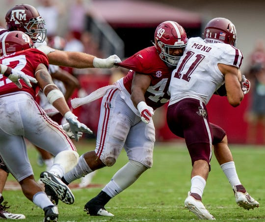 Alabama defensive lineman Isaiah Buggs (49) sacks Texas A&M quarterback Kellen Mond (11) in second half action in Tuscaloosa, Ala., on Saturday September 22, 2018.