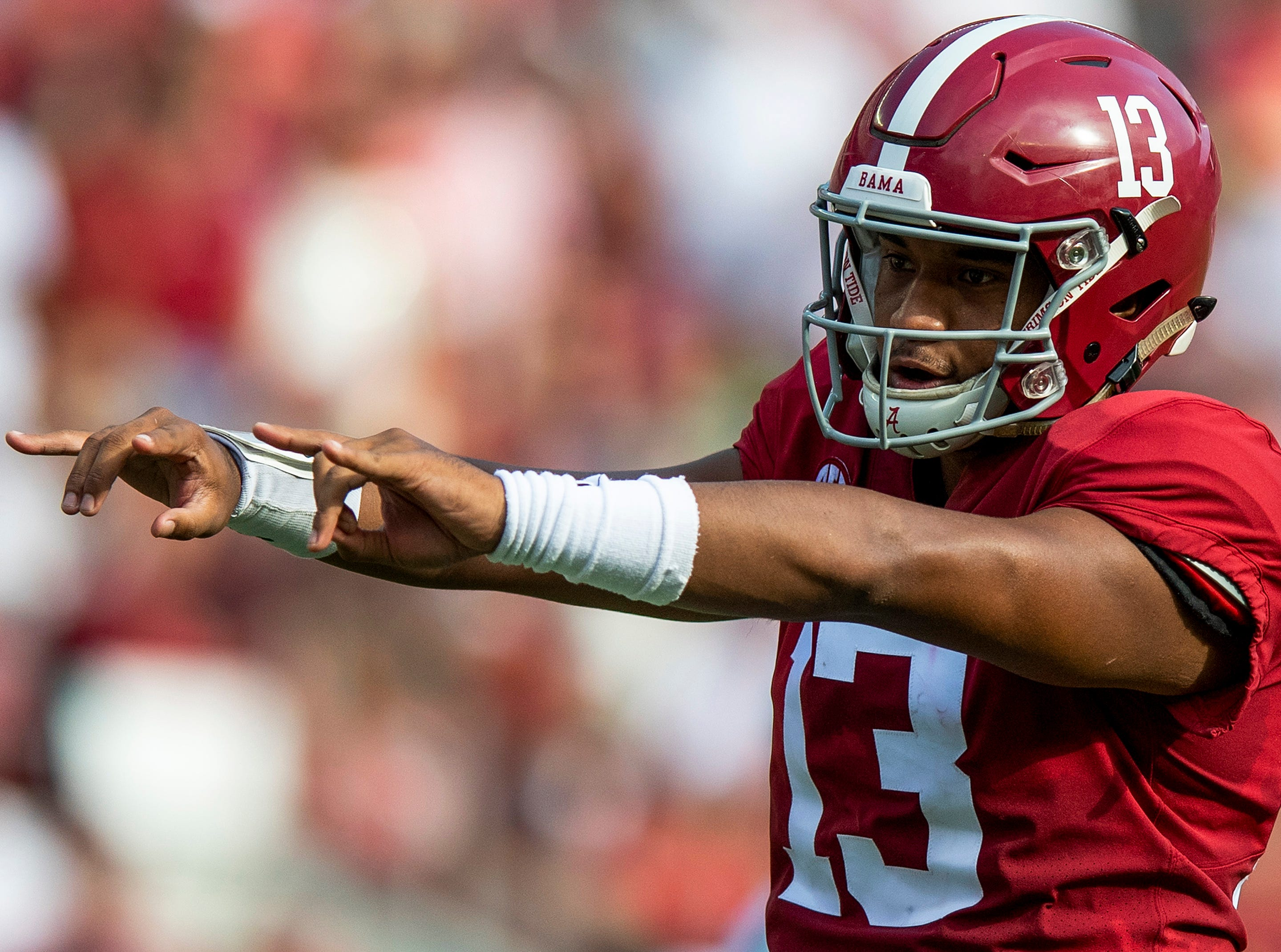 Alabama quarterback Tua Tagovailoa (13) In first half action against Texas A&M in Tuscaloosa, Ala., on Saturday September 22, 2018.